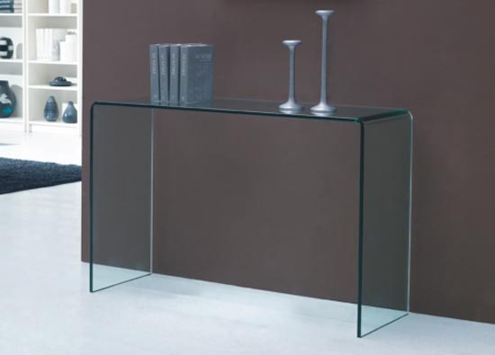 Cuved Tempered Glass Console Table